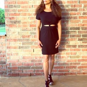 Black Woven Midi Dress